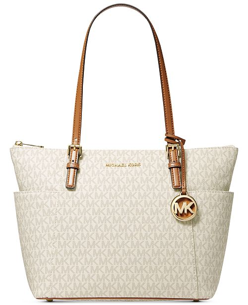 Michael Kors Jet Set East West Top Zip Leather Tote