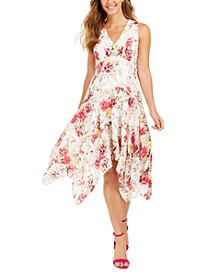 Floral-Print Lace Handkerchief-Hem Dress