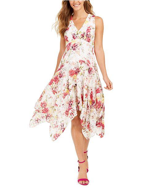 Taylor Floral-Print Lace Handkerchief-Hem Dress