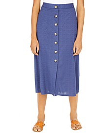 Juniors' Button-Trimmed Midi Skirt