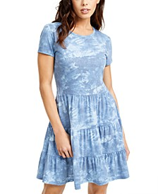 Juniors' Tie-Dyed Tiered T-Shirt Dress
