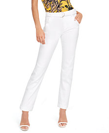 GUESS Belted Straight-Leg Mid-Rise Jeans