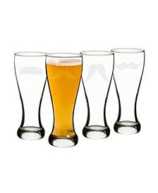 Gentleman's Moustache Pilsner Glass Set - Set of 4