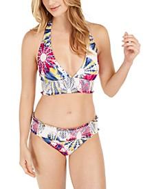 Tie-Dye Smocked Halter Bikini Top & Bikini Bottoms