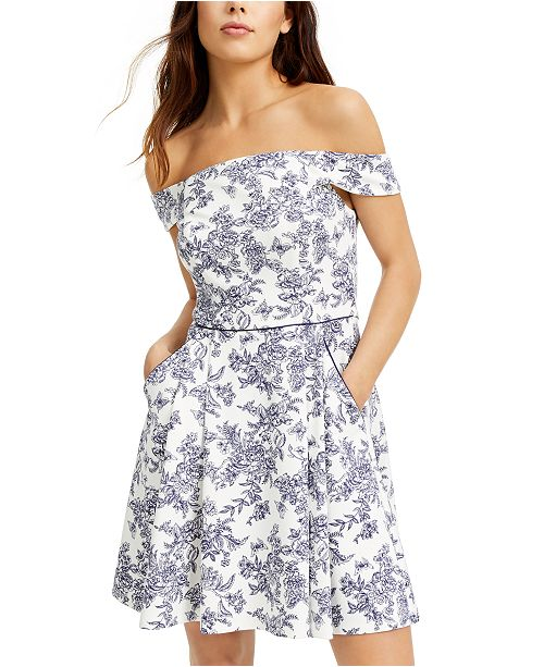 Teeze Me Juniors' Off-The-Shoulder Toile Dress