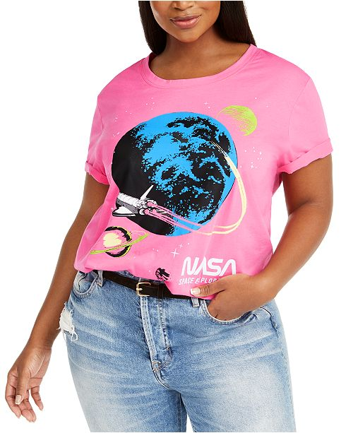 Love Tribe Hybrid Trendy Plus Size Pink NASA T-Shirt, Created For Macy's