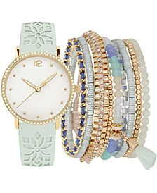 Women's Mint Floral Cut-Out Faux Leather Strap Watch 36mm Gift Set