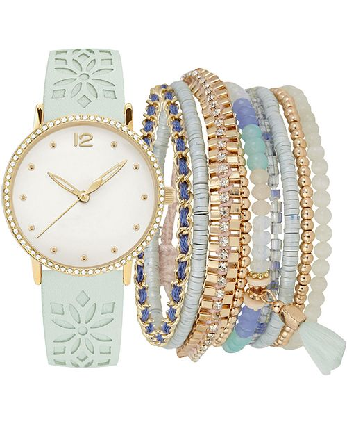 Jessica Carlyle Women's Mint Floral Cut-Out Faux Leather Strap Watch 36mm Gift Set