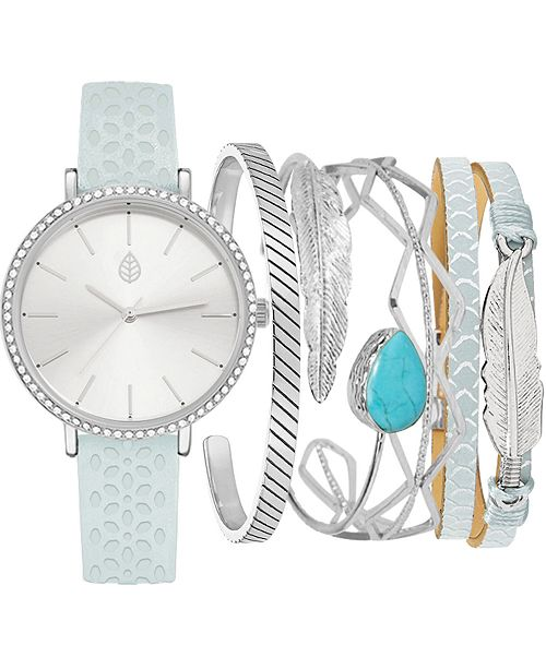 Jessica Carlyle Women's Mint Cut-Out Faux Leather Strap Watch 36mm Gift Set