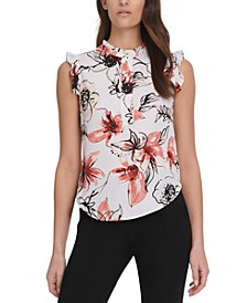 Sleeveless Floral Ruffle-Trim Blouse