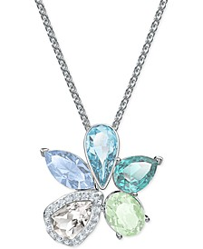 "Silver-Tone Crystal Flower Pendant Necklace, 14-7/8"" + 2"" extender"