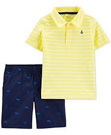 Toddler Boys 2-Pc. Cotton Striped Polo Shirt & Whale-Print Shorts Set