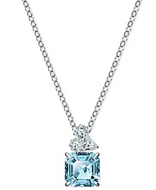 "Silver-Tone Crystal Square Pendant Necklace, 14-7/8"" + 2"" extender"