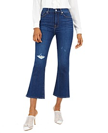 High-Rise Ripped Slim-Kick Jeans