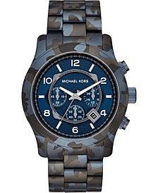 Men's Chronograph Runway Blue Camouflage Stainless Steel Bracelet Watch 45mm