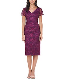 Soutache-Trim Sheath Dress