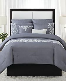 Julia 7-Piece Scroll Print King Comforter Set