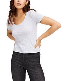 Planet Gold Juniors' Cropped Scoop-Neckline T-Shirt