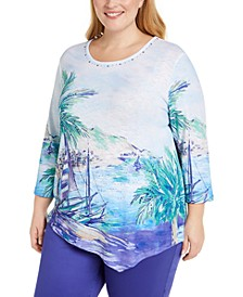 Plus Costa Rica Size Printed Top