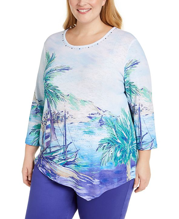 Alfred Dunner Plus Costa Rica Size Printed Top