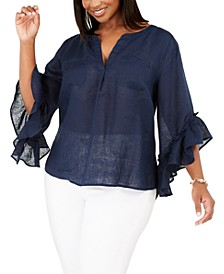 INC Plus Size Ruffled Linen Top, Created for Macy's