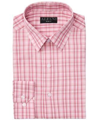 Alfani Rose Mens Gingham Check Button Down Shirt Pink 3XL