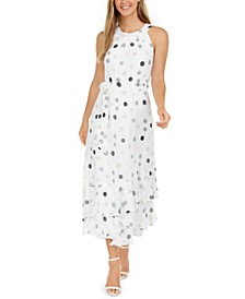Polka-Dot Halter Maxi Dress