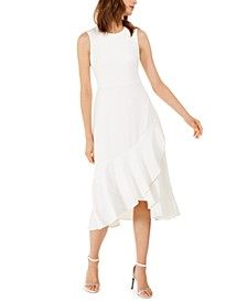 Draped-Skirt A-Line Dress