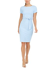 Short-Sleeve Belted Sheath Dress