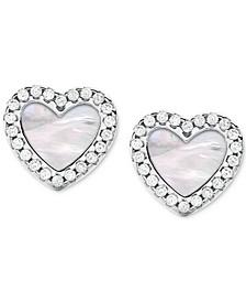 Sterling Silver Cubic Zirconia & Mother-of-Pearl Heart Stud Earrings
