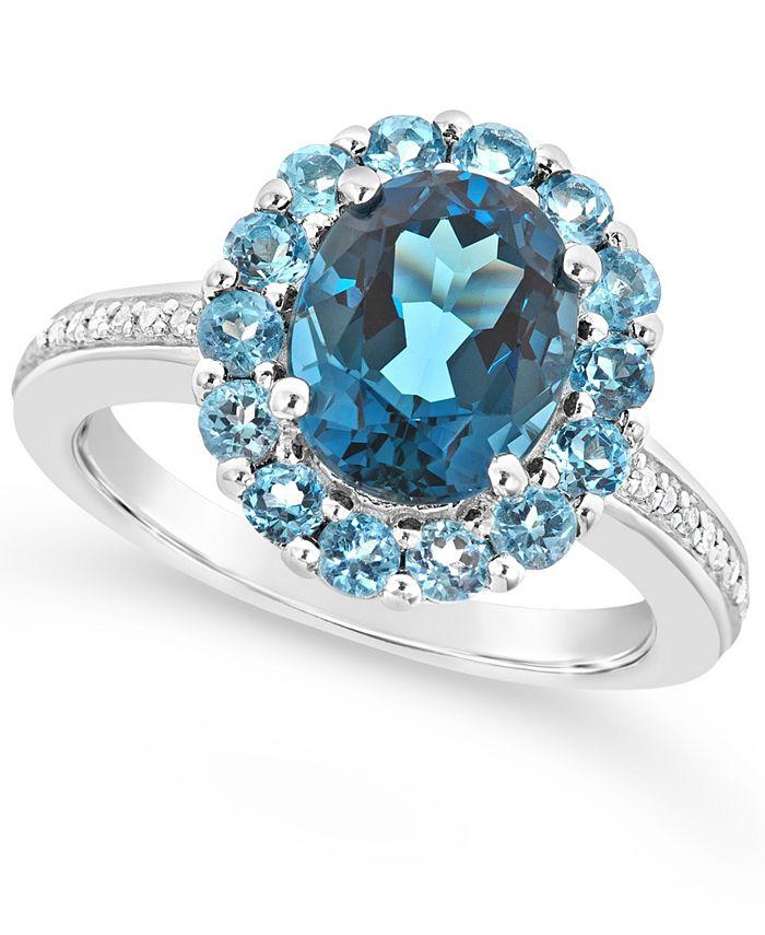Macy's - London Blue Topaz (3-1/5 ct. t.w.), Swiss Blue Topaz (1-1/4 ct. t.w.) and Diamond (1/10 ct. t.w.) Ring in Sterling Silver
