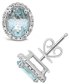 Aquamarine (2-1/10 ct. t.w.) and Diamond (1/5 ct. t.w.) Stud Earrings in Sterling Silver