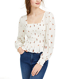 Planet Gold Juniors' Square-Neck Smocked Top