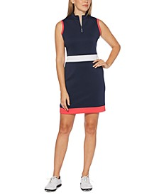 Mock-Neck Colorblocked Quarter-Zip Dress