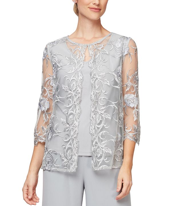 Alex Evenings Embroidered Layered-Look Twinset With Attached Jacket