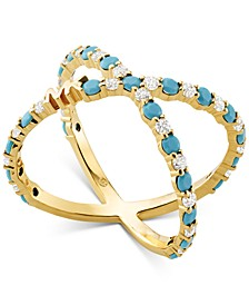 14k Gold-Plated Sterling Silver Cubic Zirconia & Turquoise-Look Stone Crisscross Ring