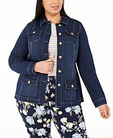 Plus Size Button-Front Utility Jacket, Created for Macy's