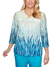 Easy Street Chain-Detail Wave-Print Top