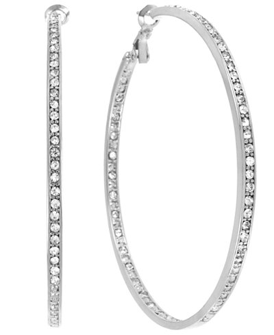 Touch of Silver Crystal Hoop Earrings in Silver-Plated Brass, 70mm