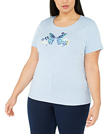 Karen Scott Plus Size Cotton Embellished Lola Butterfly Top, Created for Macy's