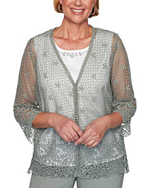 Alfred Dunner Petite Chesapeake Bay Crochet-Lace 2-For-1 Sweater