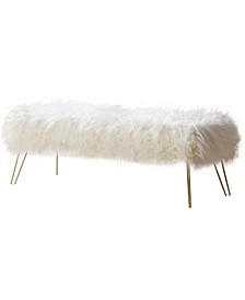 Posh Habitat by Modern Faux Fur Long Bench Ottoman