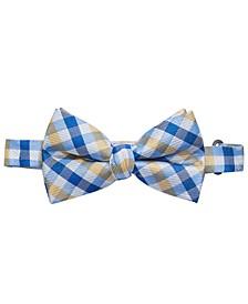 Big Boys Yellow Pre-Tied Gingham Check Silk Bow Tie