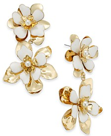 INC Gold-Tone Imitation Pearl White Double Flower Drop Earrings, Created For Macy's