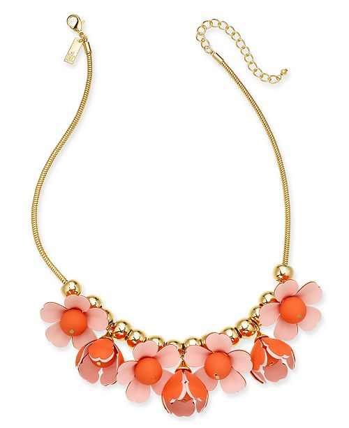 """INC International Concepts INC Gold-Tone 3D Flower Statement Necklace, 18"""" + 3"""" extender, Created for Macy's"""