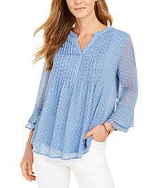 Printed Pintuck Top, In Regular and Petite, Created for Macy's