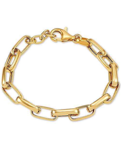 Macy's Paperclip Link Chain Bracelet in 18k Gold-Plated Sterling Silver