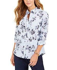 Petite Cotton Mixed-Print Blouse, Created For Macy's