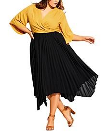 Trendy Plus Size Handkerchief-Hem Pleated Skirt