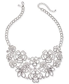 "INC Silver-Tone Crystal 3D Flower Statement Necklace, 18"" + 3"" extender, Created for Macy's"